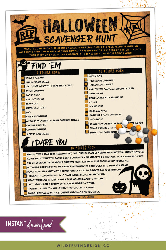 Halloween Scavenger Hunt for Teens Printable