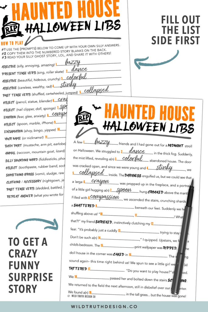 photograph regarding Printable Mad Libs Pdf named Spooky Halloween Crazy Libs Printable - Young children, Tweens, Teenagers - Haunted Property [#H107] - Wild Truth of the matter Style Co