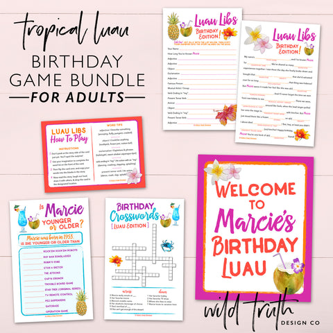 Luau Birthday Party Games For Adults | Sizzle Cone Designs