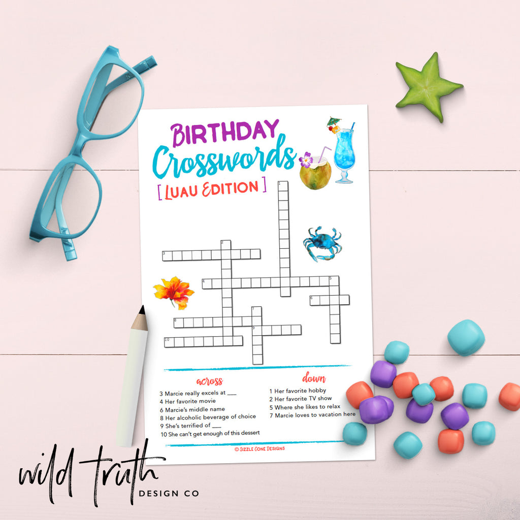 Custom Luau Birthday Crossword Puzzle