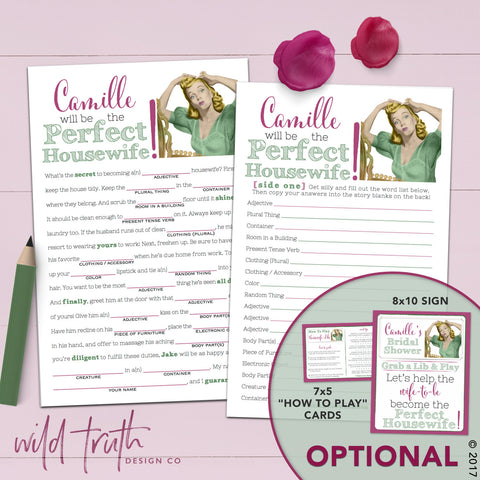 Funny Bridal Shower Madlib - Housewife Game