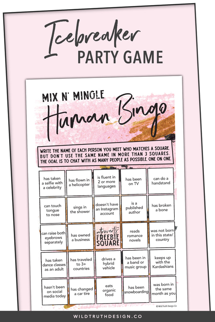 photograph about Printable Paper Games for Adults called Human Bingo Activity For Womens Birthdays #106G - Wild Reality Design and style Co