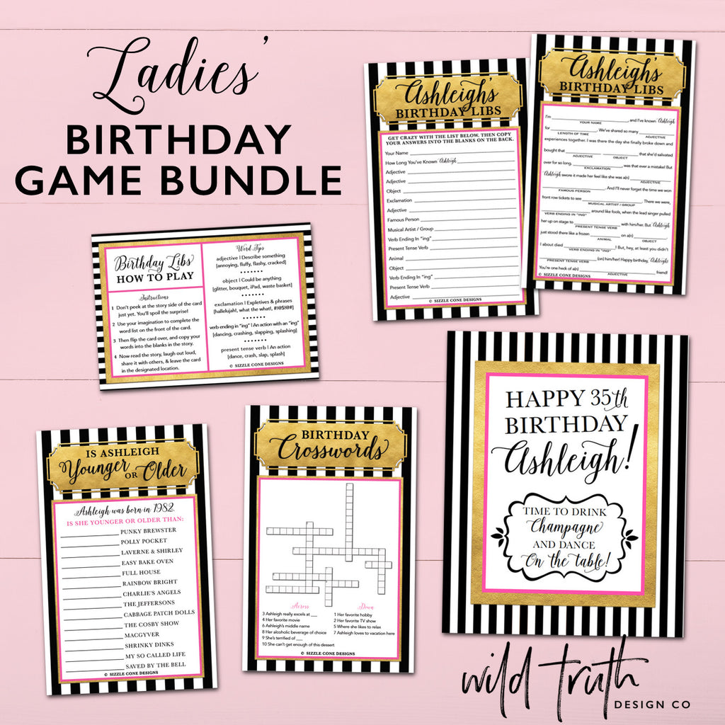 Personalized Women's Birthday Games Bundle (Pink, Gold