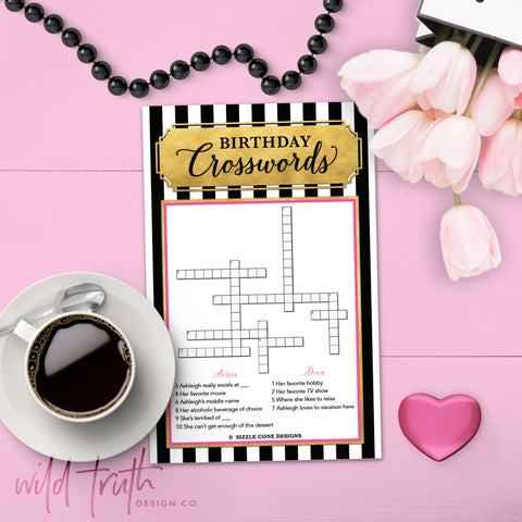 custom crossword for ladies birthday party