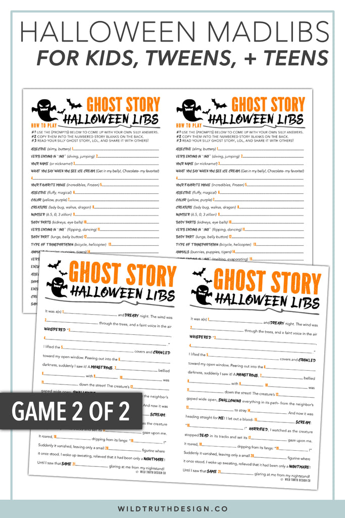 image about Mad Libs Printable Middle School named Halloween Crazy Libs For Tweens - Video games For Young children Occasion - Clroom Actions - Printables [#H110] - Wild Real truth Style Co