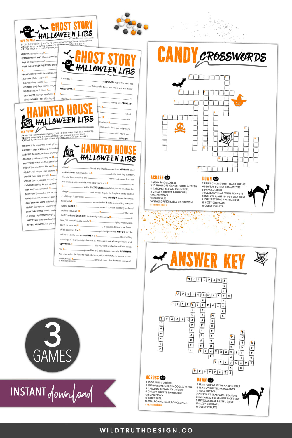 halloween classroom activities - mad libs, crosswords