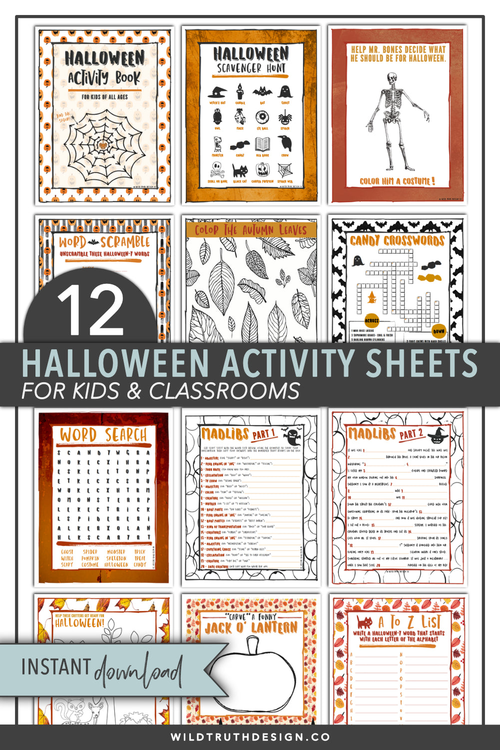 Kids Halloween Activity Sheets
