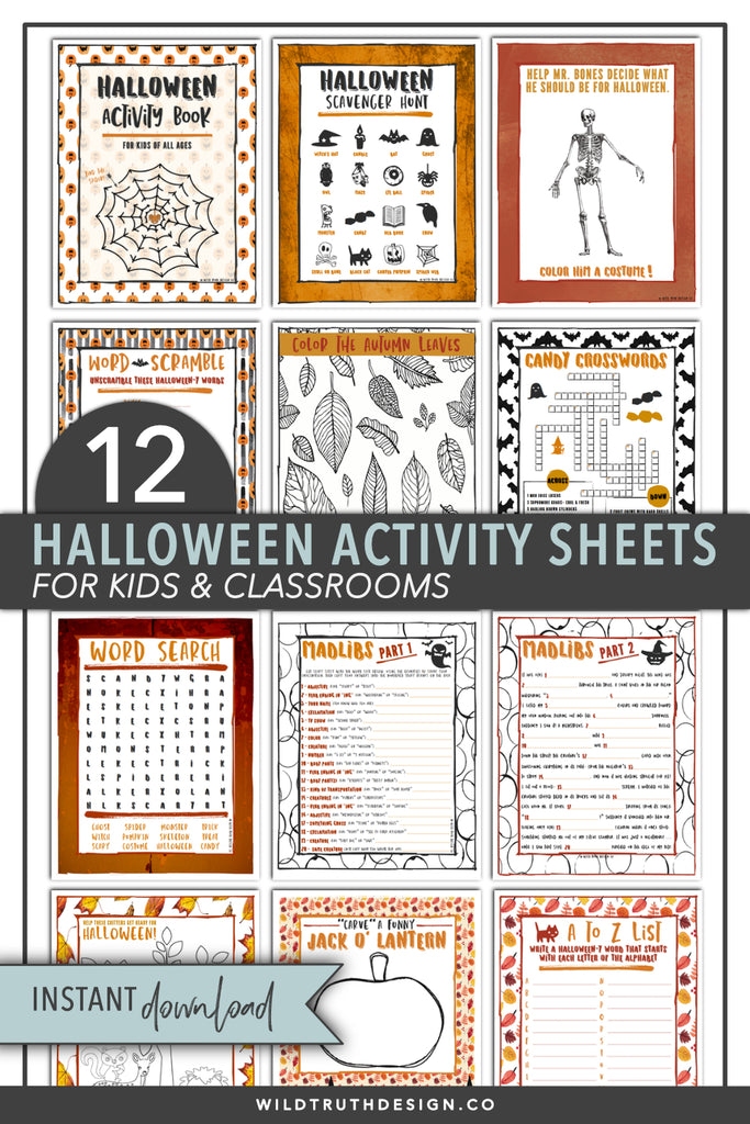 Halloween Activity Book Sheets - 12 Page PDF Printable [All Ages] – Wild  Truth Design Co