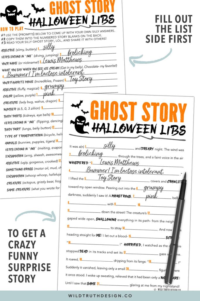Halloween Mad Libs For Tweens - Games For Kids Party - Classroom Activities  - Printables [#H110] - Wild Truth Design Co