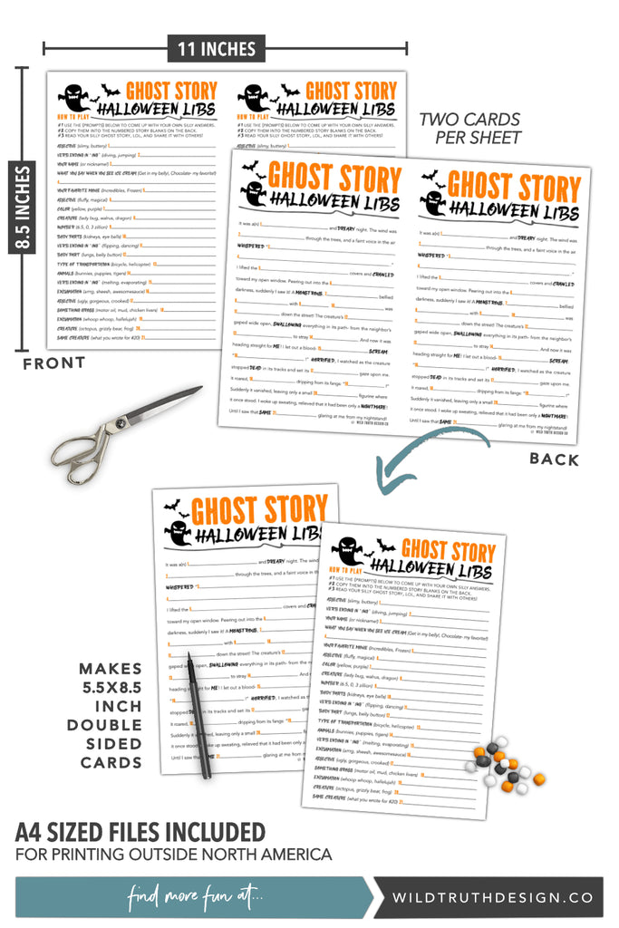 graphic relating to Halloween Games Printable named Printable Outrageous Libs Halloween Tale For Children, Tweens, Teenagers - Ghost Tale [#H106] - Wild Reality Style and design Co