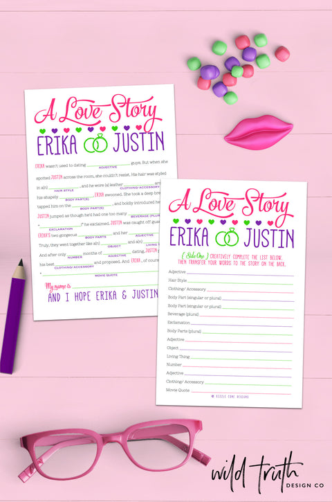 Personalized Love Story Wedding Mad Lib