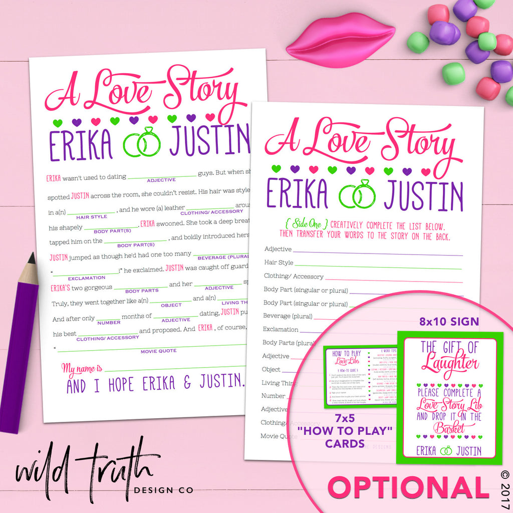 Love Story Mad Lib Bridal Shower Game