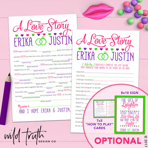 Funny Bridal Shower Mad Lib Game - Love Story | Sizzle Cone Designs