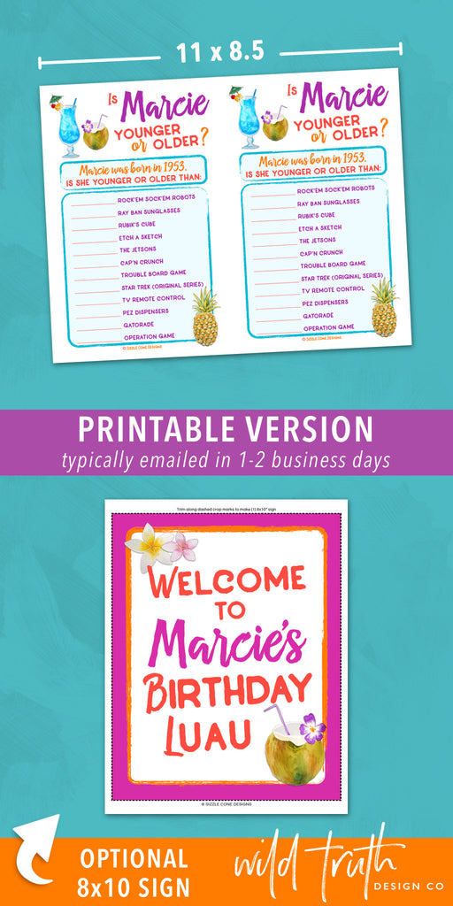 photo relating to Printable Luau Party Games named Tropical Seaside Themed Birthday Get together Match For Grownups - Young Or More mature Printable #101C - Wild Truth of the matter Structure Co