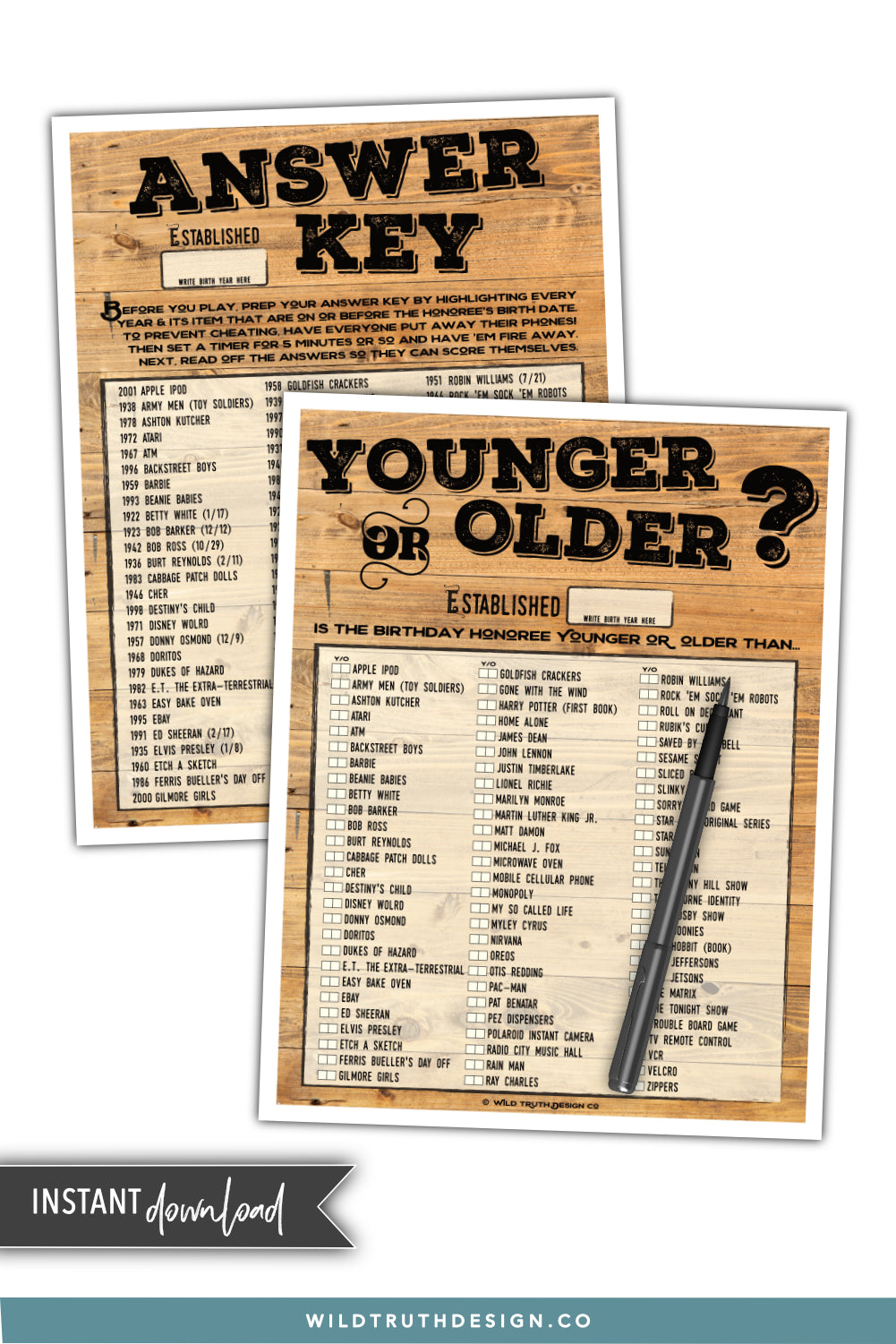 Mens Birthday Game Printable Younger Or Older
