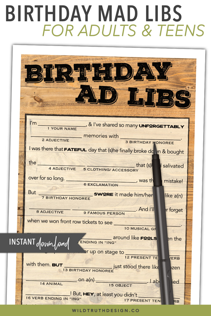 image relating to Birthday Mad Libs Printable named Birthday Crazy Libs For Grownups Printable - Males Females - Nation Wooden Down load #103A - Wild Truth of the matter Structure Co