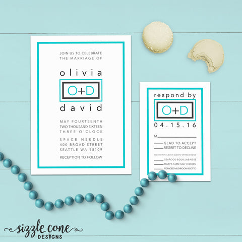 Affordable Modern Wedding Invitation Suite | Sizzle Cone Designs
