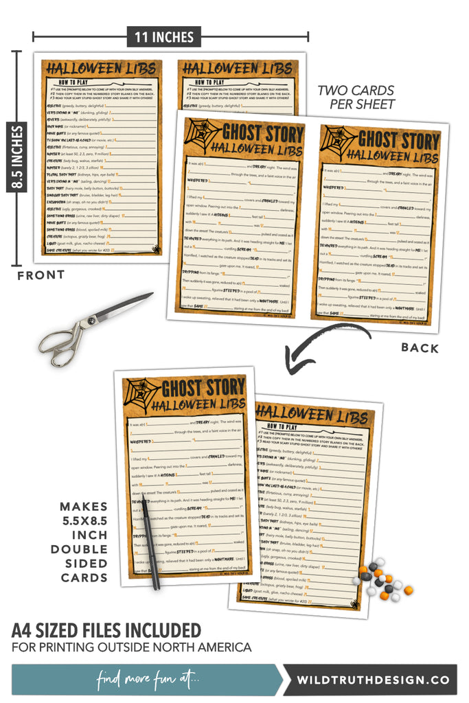 Printable Mad Libs Halloween Story - Kids, Tweens,  Teens  Wild Truth Design Co-7977