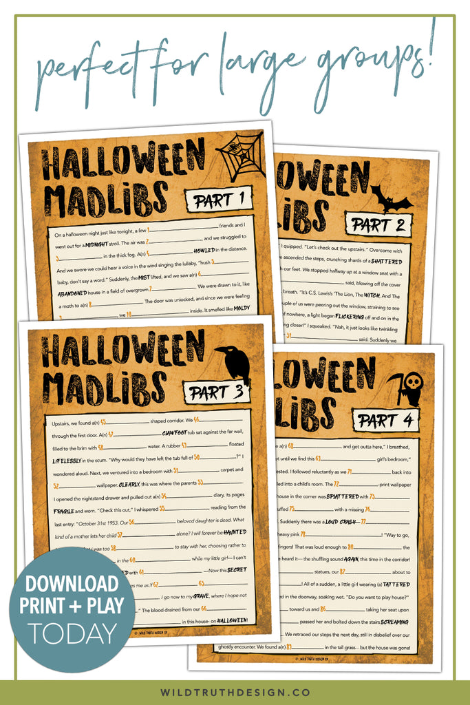 fun halloween party games for adults mad libs