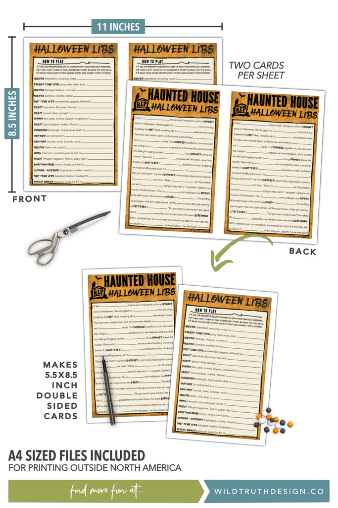 graphic regarding Printable Halloween Games Adults named Distinctive Halloween Video games For Grownups - Crazy Libs, Scavenger Hunt, Video clip Concern - Printables [#H102] - Wild Reality Structure Co