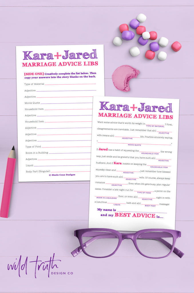 Mad Lib Wedding Advice Cards