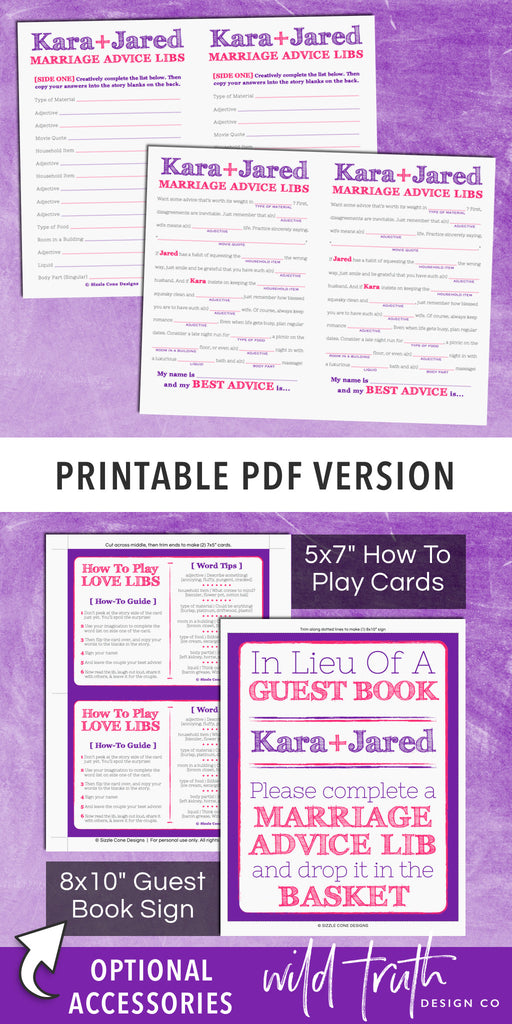 photograph relating to Printable Mad Gab Cards named Crazy Lib Wedding day Tips Playing cards / Visitor Ebook Recreation Printable #210 - Wild Fact Structure Co