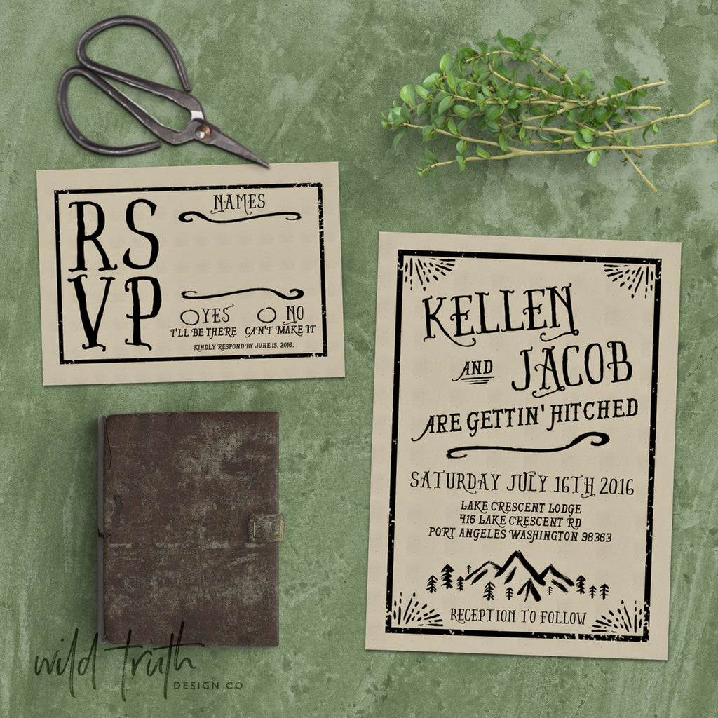 boho mountain wedding invitations - kraft