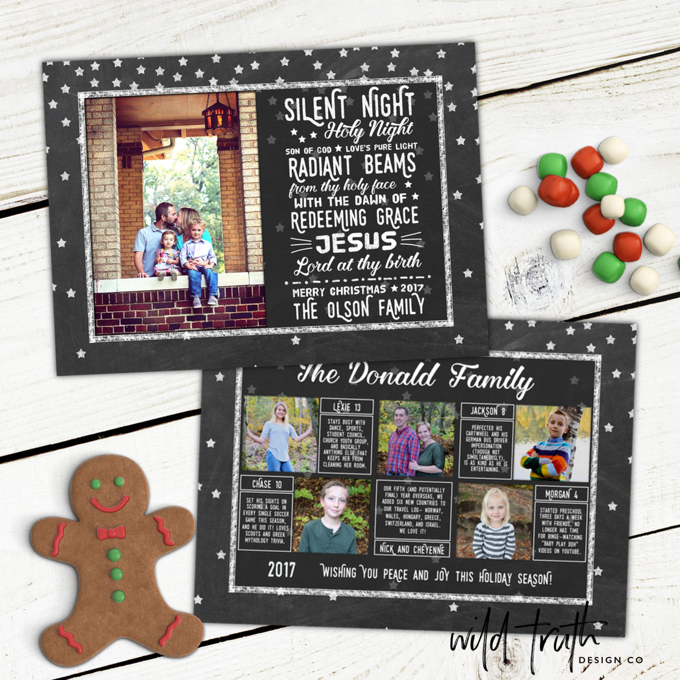 Silent Night Christmas Photo Card (Year In Review) - Chalkboard ...