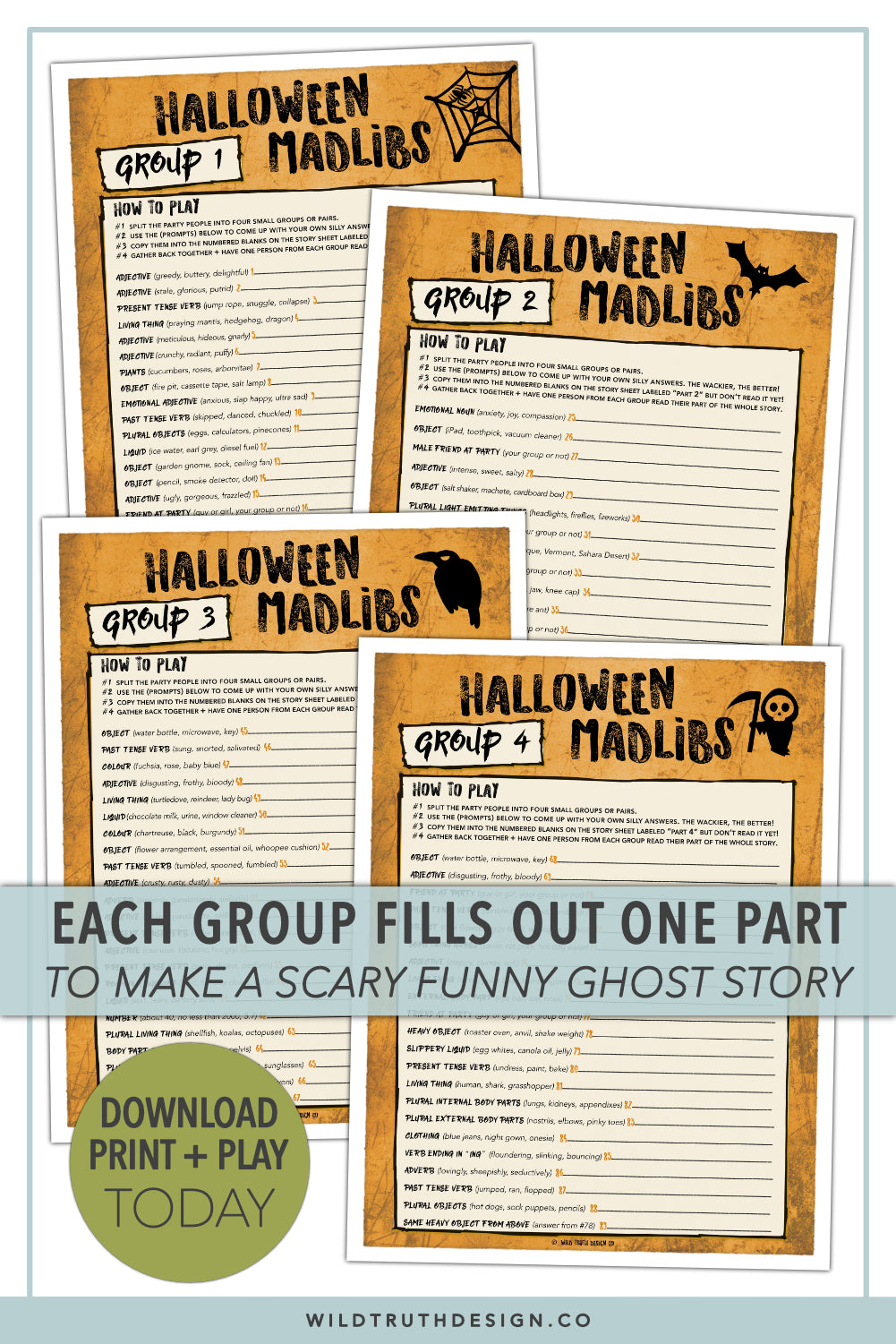 photo regarding Funny Fill in the Blank Stories Printable referred to as Foolish Halloween Video games For Grownups Teenagers - Ridiculous Libs, Scavenger Hunt - Printables [#H101] - Wild Reality Style Co