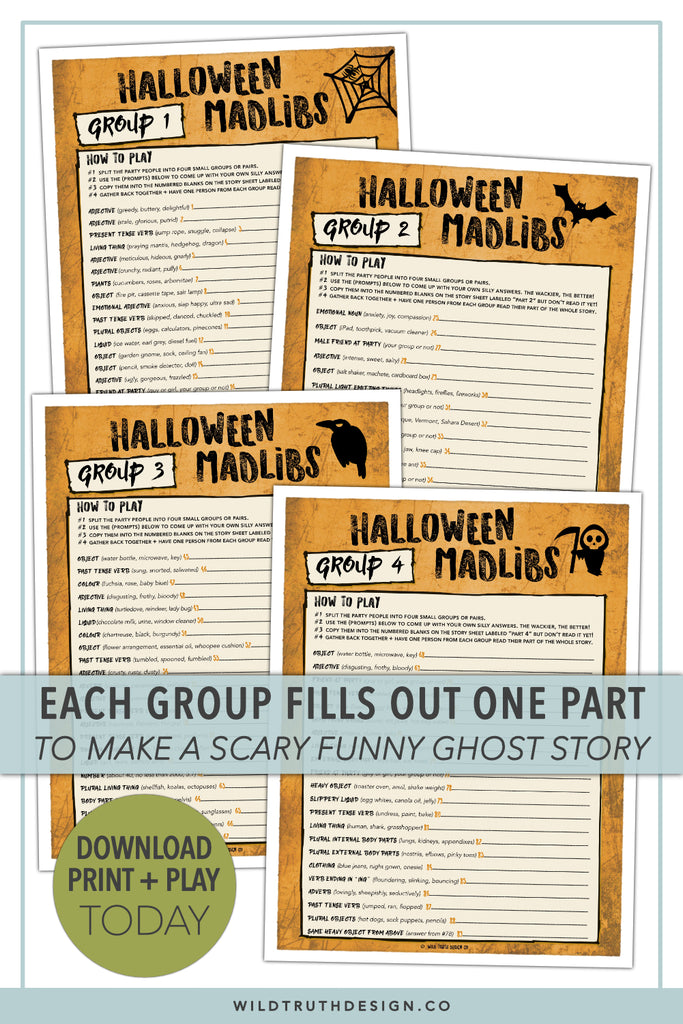photograph about Printable Mad Libs Sheets for Adults titled Foolish Halloween Game titles For Older people Adolescents - Outrageous Libs, Scavenger Hunt - Printables [#H101] - Wild Real truth Style Co