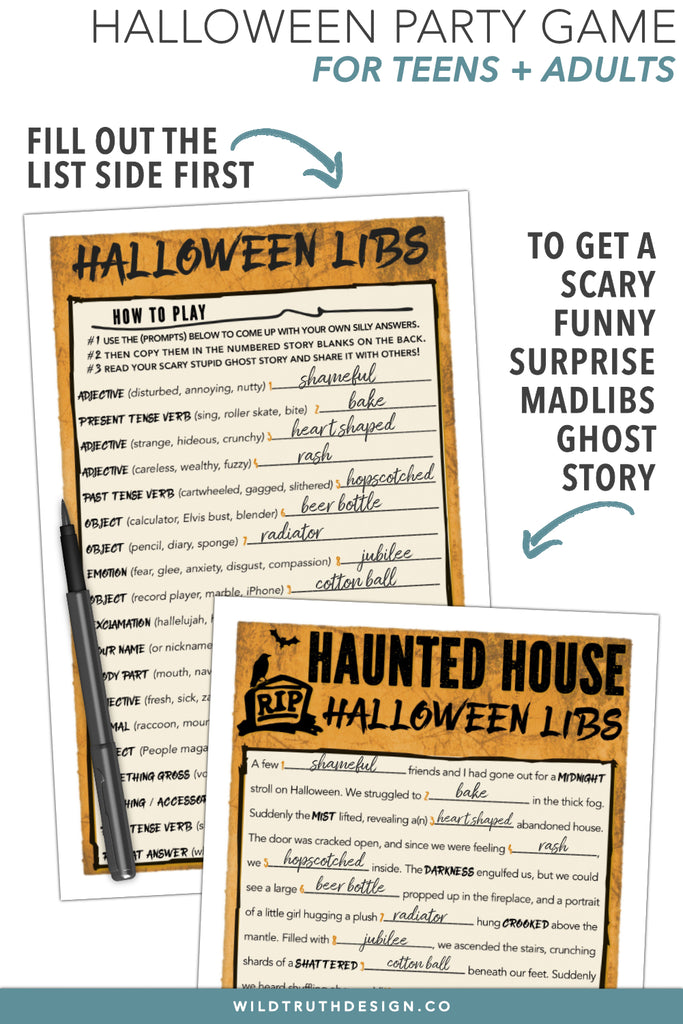 graphic relating to Printable Mad Libs for Teens known as Halloween Crazy Libs For Older people Young people - Exciting Bash Online games - Printable Obtain [#H111] - Wild Fact Layout Co