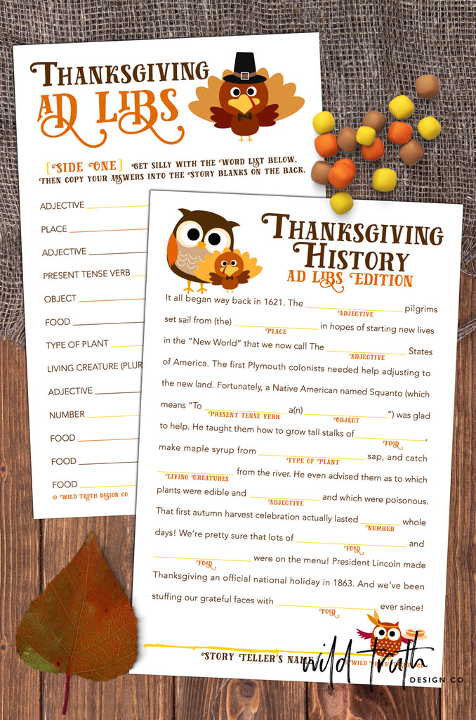 graphic regarding Thanksgiving Mad Libs Printable known as Humorous Thanksgiving Nuts Libs Sport For Young children, Youngsters, Older people - Printable Down load [#T100] - Wild Truth of the matter Layout Co