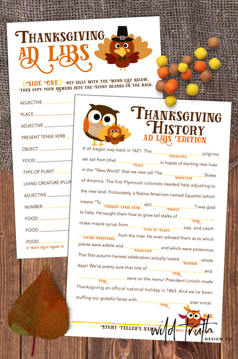 Thanksgiving Mad Libs Game For Family, School, Or Office Party