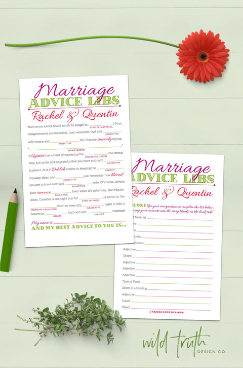 Marriage Advice Mad Lib Guest Book