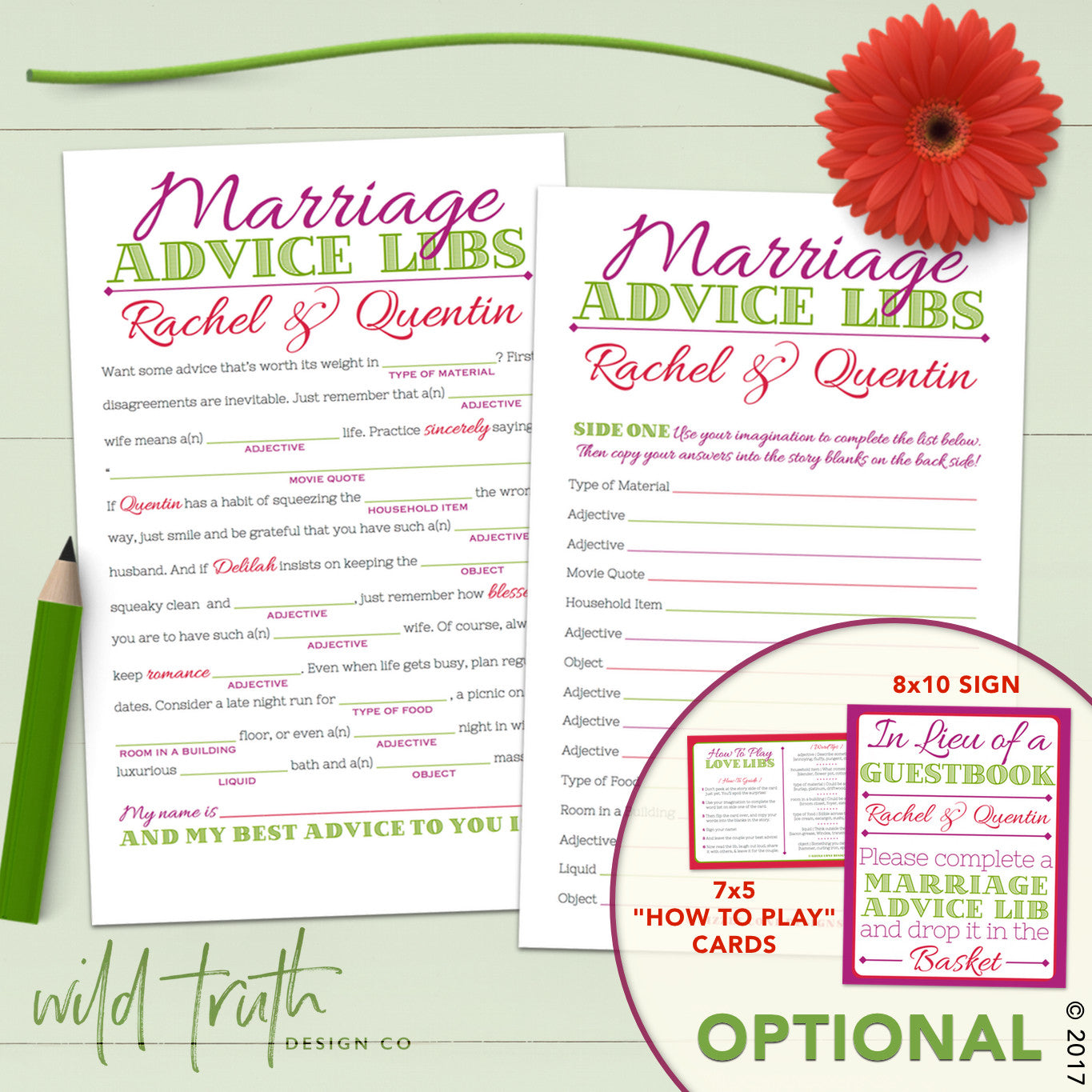 Mad Lib Wedding Guest Book - Marriage Advice Cards (Personalized ...
