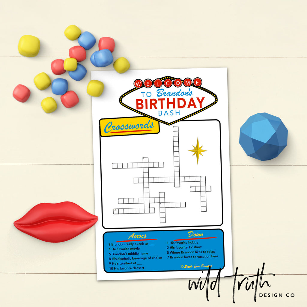 Vegas Themed Birthday Party Games Bundle (Personalized