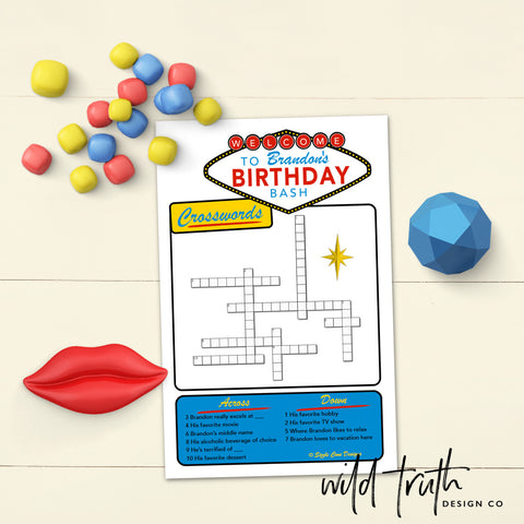 custom vegas themed birthday crossword