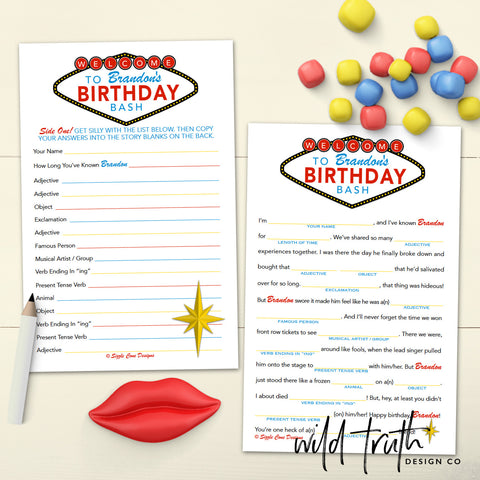 Casino Themed Birthday Game Mad Lib - Sizzle Cone Designs