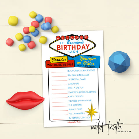 Casino Theme Birthday Game For Adults - Younger or Older