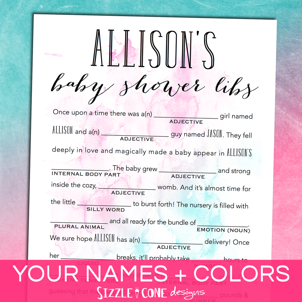 Baby Shower Mad Libs - Watercolor | Sizzle Cone Designs