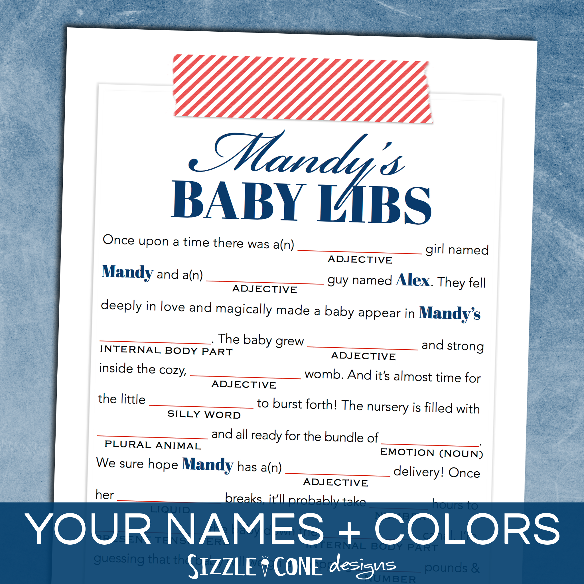 Baby Shower Mad Libs Game - Washi Tape [Personalized Printable ...