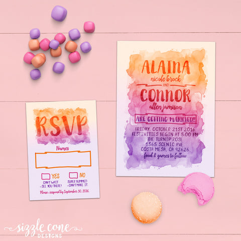 Watercolor Wedding Invitation & RSVP | Sizzle Cone Designs