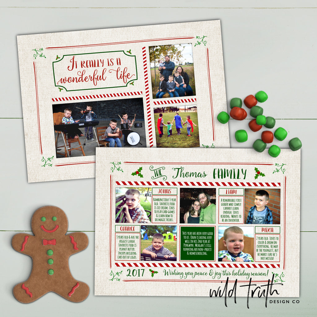 Wonderful Life Christmas Photo Card - Year in review