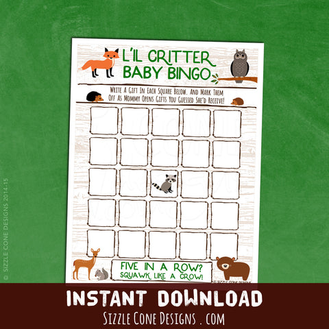 Woodland Animals Baby Shower Bingo | Sizzle Cone Designs