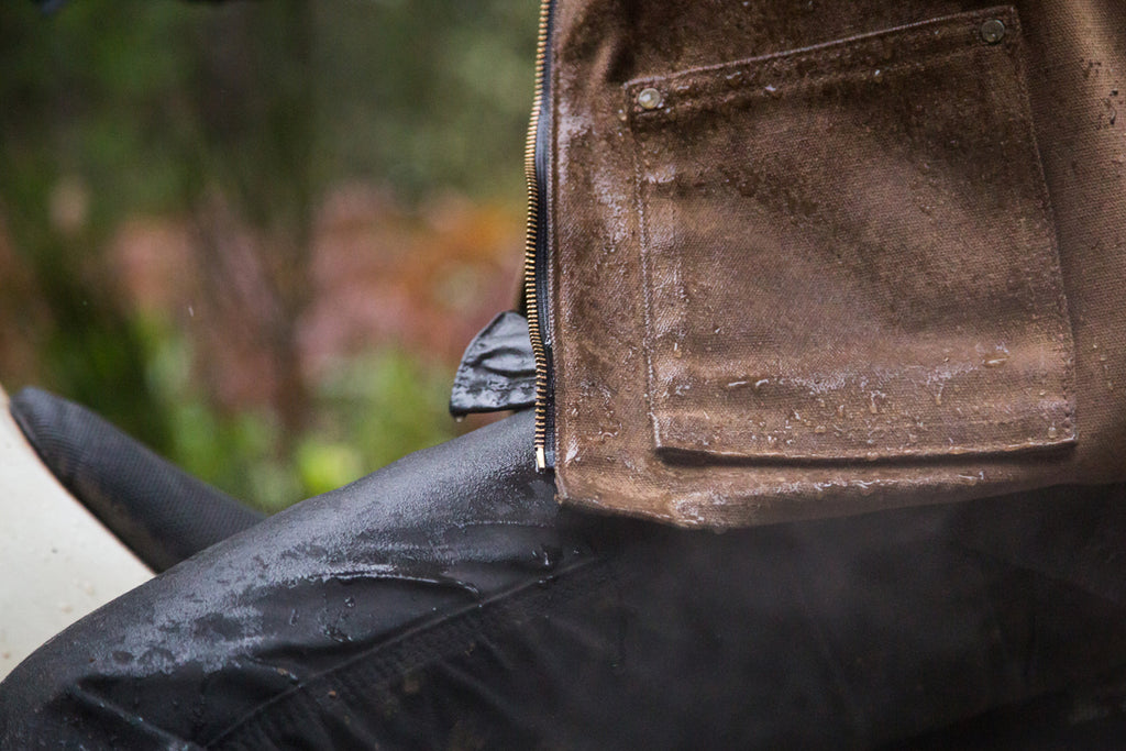 waxed canvas, honda dirt bike, honda cr125, red clouds collective, dirt bike, stay dry