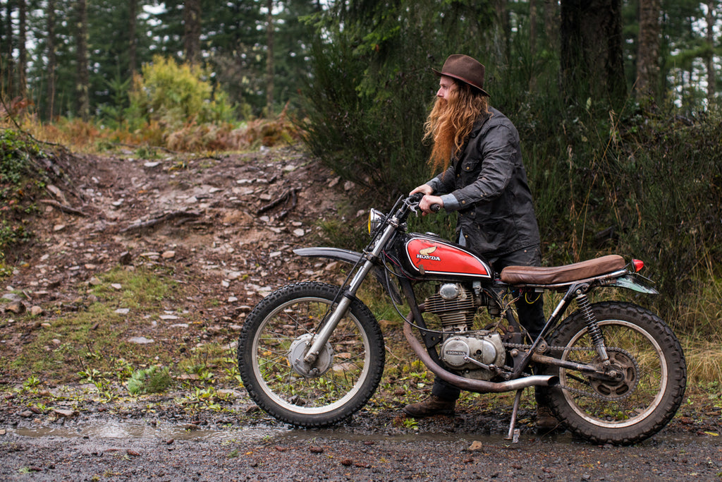 waxed canvas, vintage honda, honda xl, xl350, red clouds collective, dirt bike