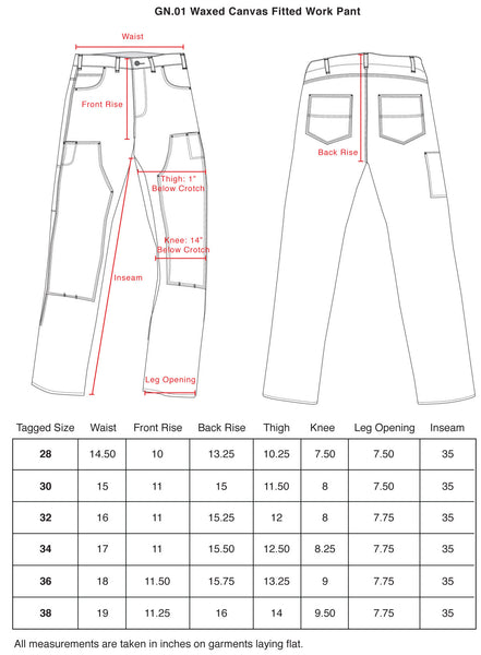 Waxed Canvas Work Pants Size chart
