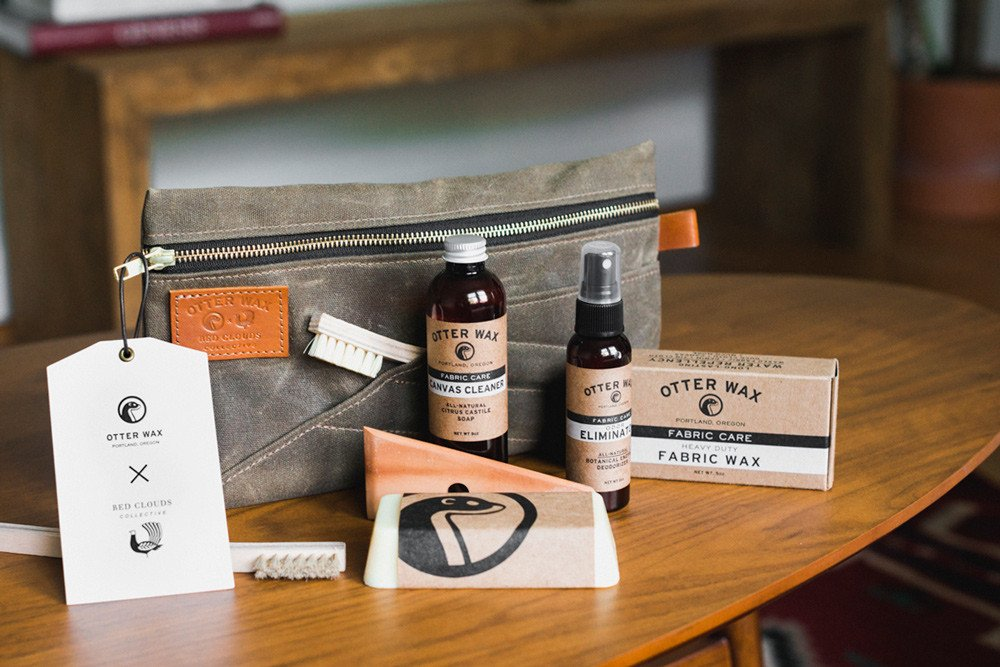 what comes inside otterwax care kit, waxed canvas, how to wax clothing, wax my jacket, making wax, red clouds waxed canvas
