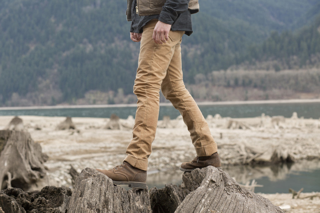 adventure in the great northwest, portland, pnw. Exploring in waxed canvas pants, waxed canvas vest, wool vest, heritage style, red clouds collective, handmade, handcrafted