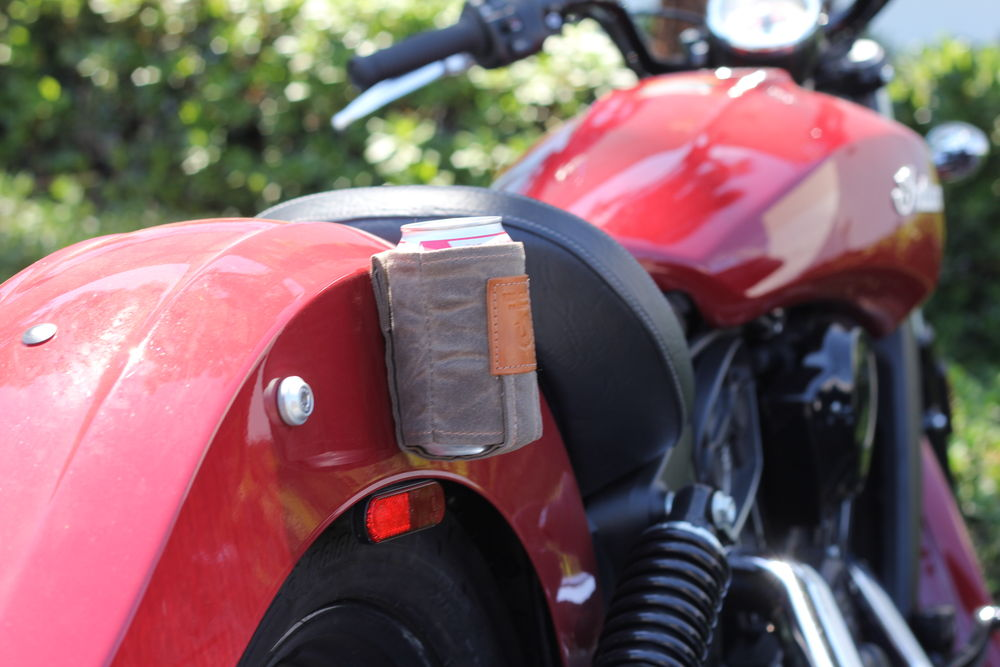 Red Clouds Collevtive Waxed canvas Magnetic Koozie review on Motorcycle Cruiser. Shown here stuck to an Indian motorcycles Scout
